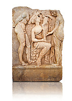 Photo of Roman relief sculpture, Aphrodisias, Turkey, Images of Roman art bas reliefs.  Baby Dionysus is handed from one nymph to another for suckling. A bearded Silenos gestures excitedly. The scene is set at Nysa in the Meander Valley, where Zeus had his gifted child Dionysos, born to him by Semele and brought up in the wilds out of the view of Hera.