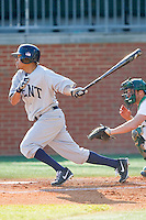 Derek Toadvine (2) of the Kent State Golden Flashes follows through on his swing against the Charlotte 49ers at Robert and Mariam Hayes Stadium on March 8, 2013 in Charlotte, North Carolina.  The 49ers defeated the Golden Flashes 5-4.  (Brian Westerholt/Four Seam Images)