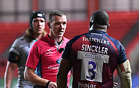 8th September 2020; Ashton Gate Stadium, Bristol, England; Premiership Rugby Union, Bristol Bears versus Northampton Saints; the referee has words with Kyle Sinckler of Bristol Bears