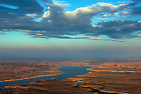 Lake Pueblo at dusk, aerial, Oct 2012