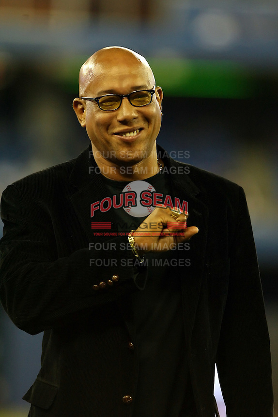 May 23rd 2008:  Former Toronto Blue Jays player Candy Maldonado gets acknowledged during a game at the Rogers Centre in Toronto, Ontario, Canada .  Photo by:  Mike Janes/Four Seam Images