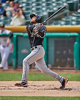 Rocky Gale (17) of the El Paso Chihuahuas follows through on his swing against the Salt Lake Bees in Pacific Coast League action at Smith's Ballpark on April 30, 2017 in Salt Lake City, Utah. El Paso defeated Salt Lake 3-0. This was Game 1 of a double-header. (Stephen Smith/Four Seam Images)