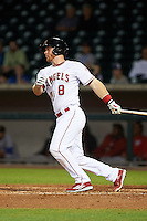 Mesa Solar Sox catcher Stephen McGee (8) hits a home run during an Arizona Fall League game against the Salt River Rafters on October 23, 2015 at Sloan Park in Mesa, Arizona.  Salt River defeated Mesa 5-1.  (Mike Janes/Four Seam Images)