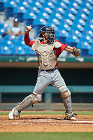 Catcher Joseph Mack (31) of Williamsville East HS in Williamsville, NY playing for the Boston Red Sox scout team during the East Coast Pro Showcase at the Hoover Met Complex on August 4, 2020 in Hoover, AL. (Brian Westerholt/Four Seam Images)