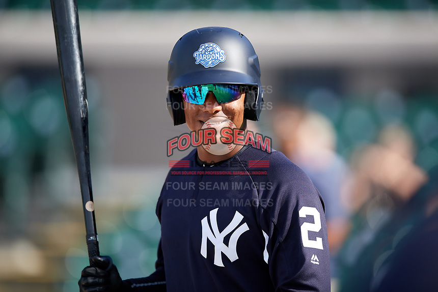 Tampa Tarpons Daniel Barrios (2) during batting practice before a game against the Lakeland Flying Tigers on April 5, 2018 at Publix Field at Joker Marchant Stadium in Lakeland, Florida.  Tampa defeated Lakeland 4-2.  (Mike Janes/Four Seam Images)