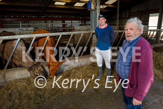 Timothy Kelliher a Killorglin farmer who believes the beef industry is suffering due to cost of meat due to the unregulated meat industry standing with Cllr John Francis Flynn.
