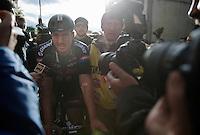 John Degenkolb (DEU/Giant-Alpecin) engulfed by media immediately after winning the race<br /> <br /> 106th Milano - San Remo 2015