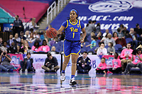 GREENSBORO, NC - MARCH 05: Dayshanette Harris #1 of University of Pittsburgh dribbles the ball during a game between Pitt and Georgia Tech at Greensboro Coliseum on March 05, 2020 in Greensboro, North Carolina.