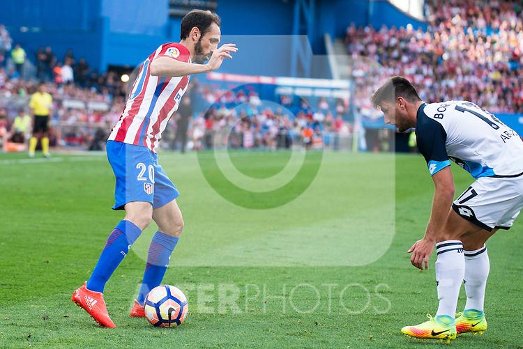 Atletico de Madrid's player Juanfran Torres and Deportivo de la Coruña's player Borja Valle during a match of La Liga Santander at Vicente Calderon Stadium in Madrid. September 25, Spain. 2016. (ALTERPHOTOS/BorjaB.Hojas)
