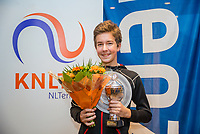 Hilversum, Netherlands, December 3, 2017, Winter Youth Circuit Masters, 12,14,and 16 years,  overall winner boys 14 years Luka Novakovic<br /> Photo: Tennisimages/Henk Koster