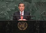72 General Debate – 20 September <br /> <br /> China FM , Mr Wang Yi