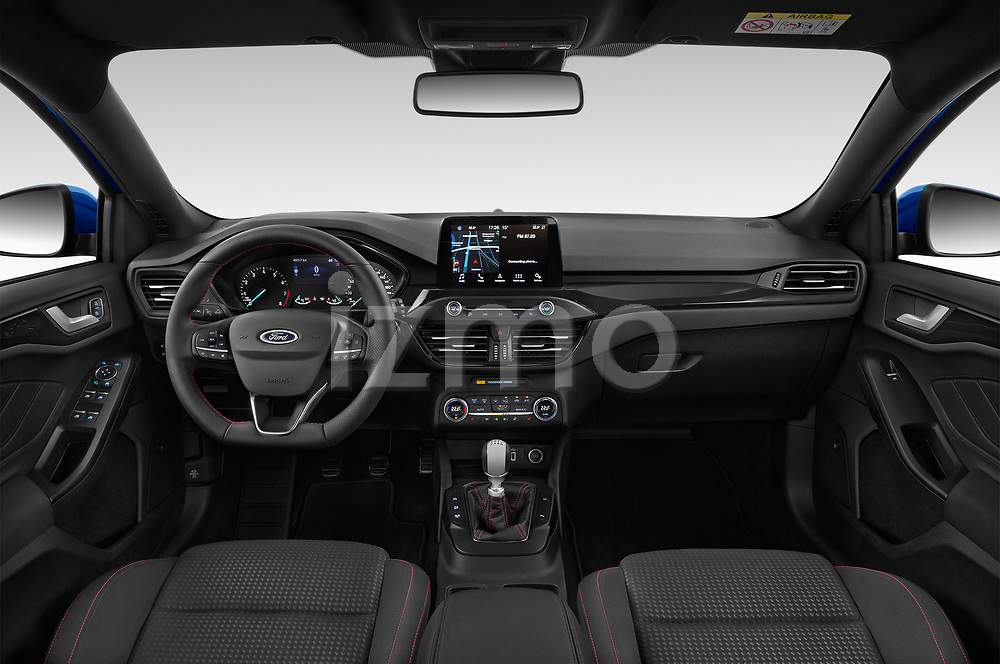 Stock photo of straight dashboard view of a 2018 Ford Focus ST Line Business 4 Door Hatchback