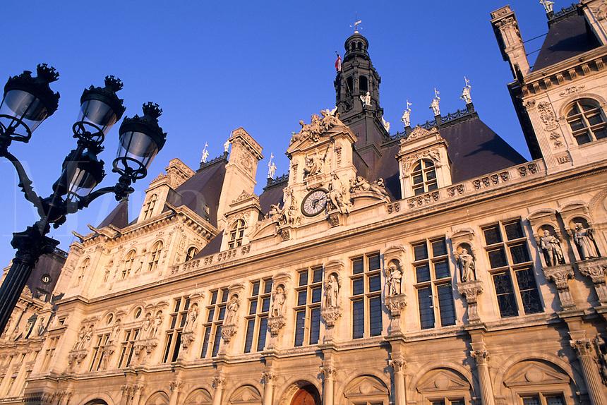 famous Hotel de Ville Paris France colorful graphic