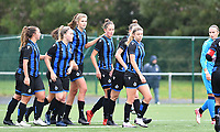 Brugge's players with Brugge's Marie Minnaert and bBrugge's Charlotte Laridon pictured celebrating after scoring during a female soccer game between the women teams of Club Brugge YLA Dames and Union Saint-Ghislain Tertre-Hautrage Ladies on the 1/16 th qualifying round for the Belgian Womens Cup 2020  2021 , on saturday 26 th of September 2020  in Brugge , Belgium . PHOTO SPORTPIX.BE | SPP | DAVID CATRY