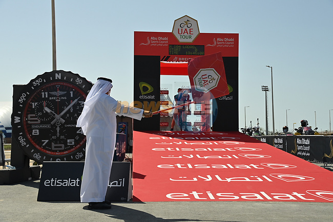 Matthieu Ladagnous (FRA) Groupama-FDJ is the first rider to start Stage 2 of the 2021 UAE Tour running 13km around  Al Hudayriyat Island, Abu Dhabi, UAE. 22nd February 2021.  <br /> Picture: LaPresse/Gian Mattia D'Alberto | Cyclefile<br /> <br /> All photos usage must carry mandatory copyright credit (© Cyclefile | LaPresse/Gian Mattia D'Alberto)