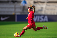 ORLANDO, FL - FEBRUARY 24: Desiree Scott #11 of the CANWNT kicks the ball during a game between Brazil and Canada at Exploria Stadium on February 24, 2021 in Orlando, Florida.