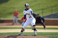 Quinnipiac Bobcats relief pitcher Brandon Shileikis (34) in action against the Radford Highlanders at David F. Couch Ballpark on March 4, 2017 in Winston-Salem, North Carolina. The Highlanders defeated the Bobcats 4-0. (Brian Westerholt/Four Seam Images)