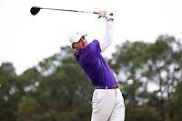 PINEHURST, NC - MARCH 02: Keller Harper of Augusta University tees off on the fourth hole at Pinehurst No. 2 on March 02, 2021 in Pinehurst, North Carolina.