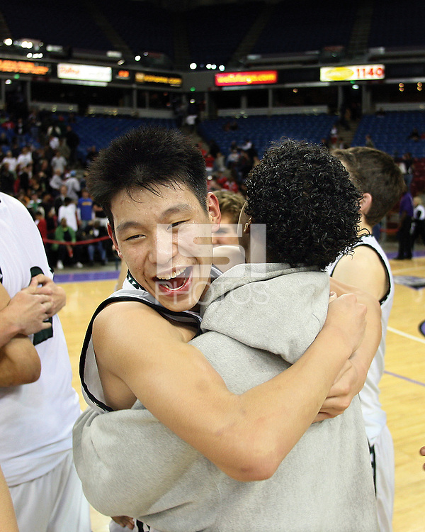 Palo Alto High School's Jeremy Lin celebrate their victory during Friday, March 17, 2006, California Interscholastic Federation state championship game. Palo Alto High School  won the California State Championship boys division II game 51-47.  ( @ Photo by Norbert von der Groeben )