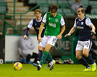 15th November 2020; Easter Road, Edinburgh, Scotland; Scottish League Cup Football, Hibernian versus Dundee FC; Joe Newell of Hibernian passes before the challenge from Paul McGowan of Dundee