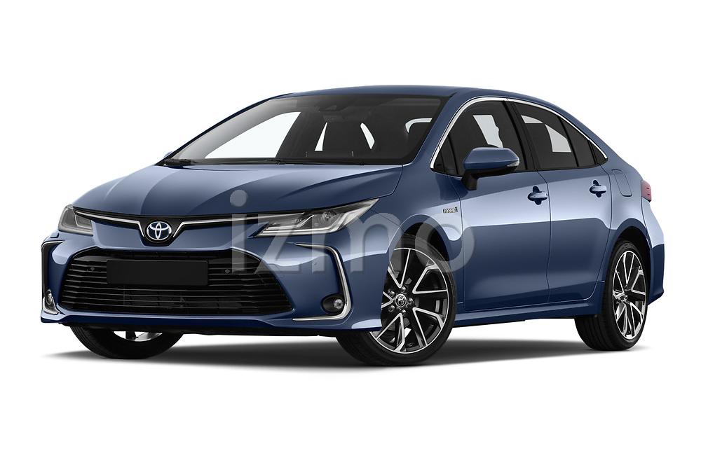 Stock pictures of low aggressive front three quarter view of a 2019 Toyota Corolla  Premium 4 Door Sedan