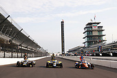 The front row of #21: Rinus VeeKay, Ed Carpenter Racing Chevrolet, #26: Colton Herta, Andretti Autosport Honda and #9: Scott Dixon, Chip Ganassi Racing Honda