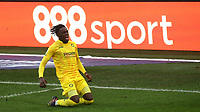 Admiral Muskwe, on loan from Leicester City, celebrates scoring Wycombe's second goal during Brentford vs Wycombe Wanderers, Sky Bet EFL Championship Football at the Brentford Community Stadium on 30th January 2021