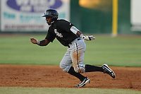 Bristol White Sox center fielder Courtney Hawkins #34 leads off second during a game against the Elizabethton Twins at Joe O'Brien Field on June 25, 2012 in Elizabethton, Tennessee. The Twins defeated the White Sox 9-1. (Tony Farlow/Four Seam Images).