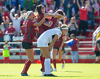 Georgia Bulldogs vs Arkansas Razorback Women's Soccer -  Razorback Taylor Malham (14) (middle) celebrates with Stefani Doyle (17) (front) after scoring a goal in the 85th minute at Razorback Field, Fayetteville, AR on Sunday, October 27, 2019 - Special to NWA Democrat Gazette David Beach