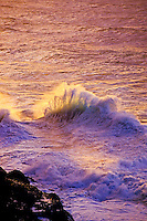 Glorious sunlit breaking wave with impressionistic soft rose, aqua and white tones. Small black coral reef in foreground.