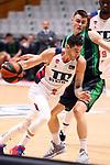 Liga ENDESA 2019/2020. Game: 07.<br /> Club Joventut Badalona vs TD Systems Baskonia: 83-82.<br /> Luca Vildoza vs Nenad Dimitrijevic.