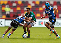 27th March 2021; Brentford Community Stadium, London, England; Gallagher Premiership Rugby, London Irish versus Bath; Anthony Watson of Bath tackles Curtis Rona of London Irish