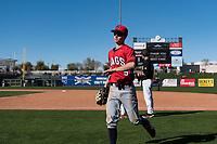 Gonzaga Bulldogs center fielder Guthrie Morrison (5) jogs off the field between innings of a game against the Oregon State Beavers on February 16, 2019 at Surprise Stadium in Surprise, Arizona. Oregon State defeated Gonzaga 9-3. (Zachary Lucy/Four Seam Images)