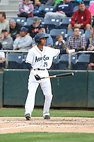 Erick Mejia (29) of the Everett AquaSox bats during a game against the Spokane Indians at Everett Memorial Stadium on July 24, 2015 in Everett, Washington. Everett defeated Spokane, 8-6. (Larry Goren/Four Seam Images)