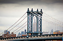Views of Manhattan from Brooklyn Bridge in New York USA