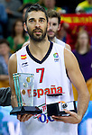 16.09.2011, Arena Zalgirio, Kaunas, LTU, FIBA EuroBasket 2011, Frankreich vs Russland, im Bild MVP player of the tournament Juan Carlos Navarro of Spain at medal ceremony after the final basketball game between National basketball teams of Spain and France at FIBA Europe Eurobasket Lithuania 2011, on September 18, 2011, in Arena Zalgirio, Kaunas, Lithuania. Spain defeated France 98-85 and became European Champion 2011. EXPA Pictures © 2011, PhotoCredit: EXPA/ Sportida/ Vid Ponikvar  +++++ ATTENTION - OUT OF SLOVENIA/(SLO) +++++