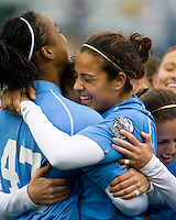 North Carolina forward Jessica McDonald (47) celebrates her goal in the 3rd minute with forward Casey Nogueira (54). North Carolina defeated Stanford 1-0 to win the 2009 NCAA Women's College Cup at the Aggie Soccer Stadium in College Station, TX on December 6, 2009.