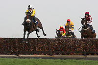 Cabinet Minister ridden by Jason Maguire leads the field in the Rickety Bridge Handicap Chase (In Aid of West Berkshire Mencap) - Horse Racing at Newbury Racecourse, Berkshire - 02/03/12 - MANDATORY CREDIT: Gavin Ellis/TGSPHOTO - Self billing applies where appropriate - 0845 094 6026 - contact@tgsphoto.co.uk - NO UNPAID USE.