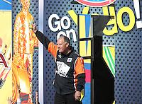 Feb. 24, 2013; Chandler, AZ, USA; NHRA funny car driver Johnny Gray during the Arizona Nationals at Firebird International Raceway. Mandatory Credit: Mark J. Rebilas-