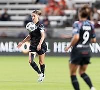 HOUSTON, TX - SEPTEMBER 10: Morgan Gautrat #13 of the Chicago Red Stars gains control of a loose ball during a game between Chicago Red Stars and Houston Dash at BBVA Stadium on September 10, 2021 in Houston, Texas.