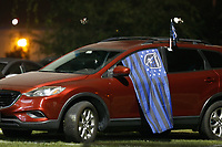 SAN JOSE, CA - SEPTEMBER 13: San Jose Earthquakes fans watch from their cars during a game between Los Angeles Galaxy and San Jose Earthquakes at Earthquakes Stadium on September 13, 2020 in San Jose, California.