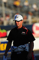Oct. 14, 2011; Chandler, AZ, USA; NHRA funny car driver Mike Neff during qualifying at the Arizona Nationals at Firebird International Raceway. Mandatory Credit: Mark J. Rebilas-