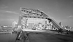 Pittsburgh PA:  View of Hilton Hotel and Fort Pitt Bridge construction from the Fort Pitt Bridge.