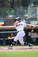 Zane Gurwitz(11) of the Modesto Nuts bats against the Visalia Rawhide at Recreation Ballpark on June 10, 2019 in Visalia, California. (Larry Goren/Four Seam Images)