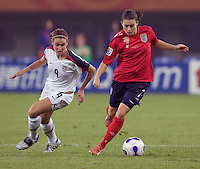Karen Carney, Heather O'Reilly. The USA defeated England, 3-0 during the quarterfinals of the FIFA Women's World Cup in Tianjin, China.  The USA defeated England, 3-0.