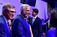 Philippe Couillard et Justin Trudeau en visite chez CAE, le 8 aout 2018.<br /> <br /> PHOTO : Agence Quebec Presse