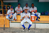 St. Lucie Mets players pose for a photo in the dugout before a game against the Lakeland Flying Tigers on June 11, 2017 at Joker Marchant Stadium in Lakeland, Florida.  Lakeland defeated St. Lucie 1-0.  (Mike Janes/Four Seam Images)