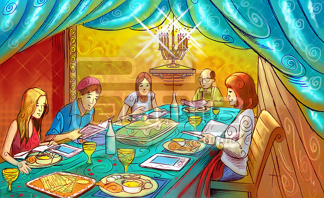 Family at a dining table celebrating Passover festival