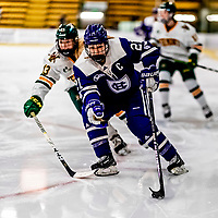 16 February 2019: Holy Cross Crusader Forward Julie Matthias, a Senior from Thornton, CO, in action against the University of Vermont Catamounts at Gutterson Fieldhouse in Burlington, Vermont. The Lady Cats defeated the Crusaders 4-1 to sweep their 2-game weekend series. Mandatory Credit: Ed Wolfstein Photo *** RAW (NEF) Image File Available ***
