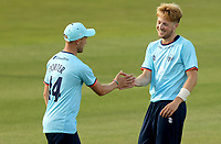 ben Allison of Essex (right) celebrates taking the wicket of Ben Seabrook during Essex Eagles vs Cambridgeshire CCC, Domestic One-Day Cricket Match at The Cloudfm County Ground on 20th July 2021